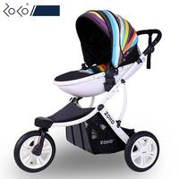 Fashion High view 3 wheel Baby Stroller, Bi direction & Folding Pushchair with Aluminum Alloy Frame, Big Wheels Baby Pram