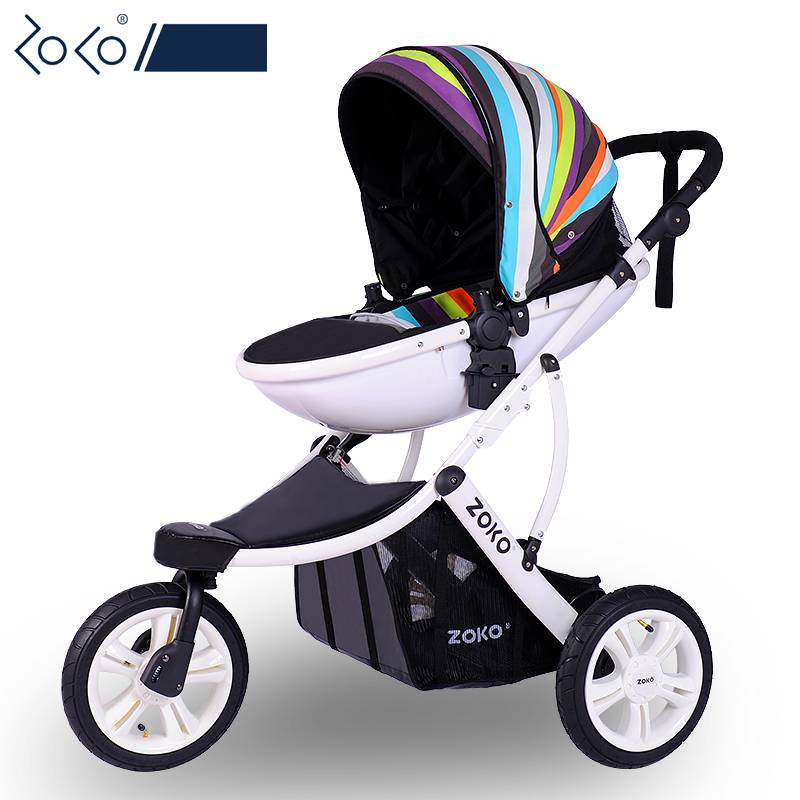 Fashion High-view 3-wheel Baby Stroller, Bi-direction & Folding Pushchair with Aluminum Alloy Frame, Big Wheels Baby Pram baby stroller with cute ceiling swivel wheel pushchair wide seat deluxe high view traveling trolly with snack tray
