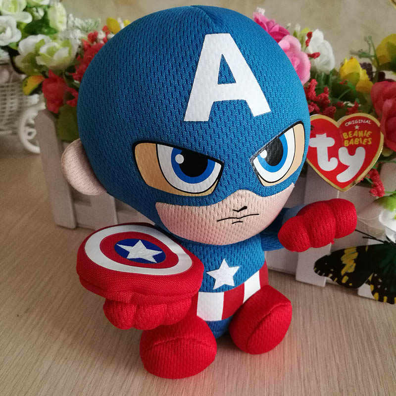 ... Iron man Spider man Captain American Hulk Dead Pool Plush Toy Ty Beanie  Baby 15 cm ... e311ba352f8f