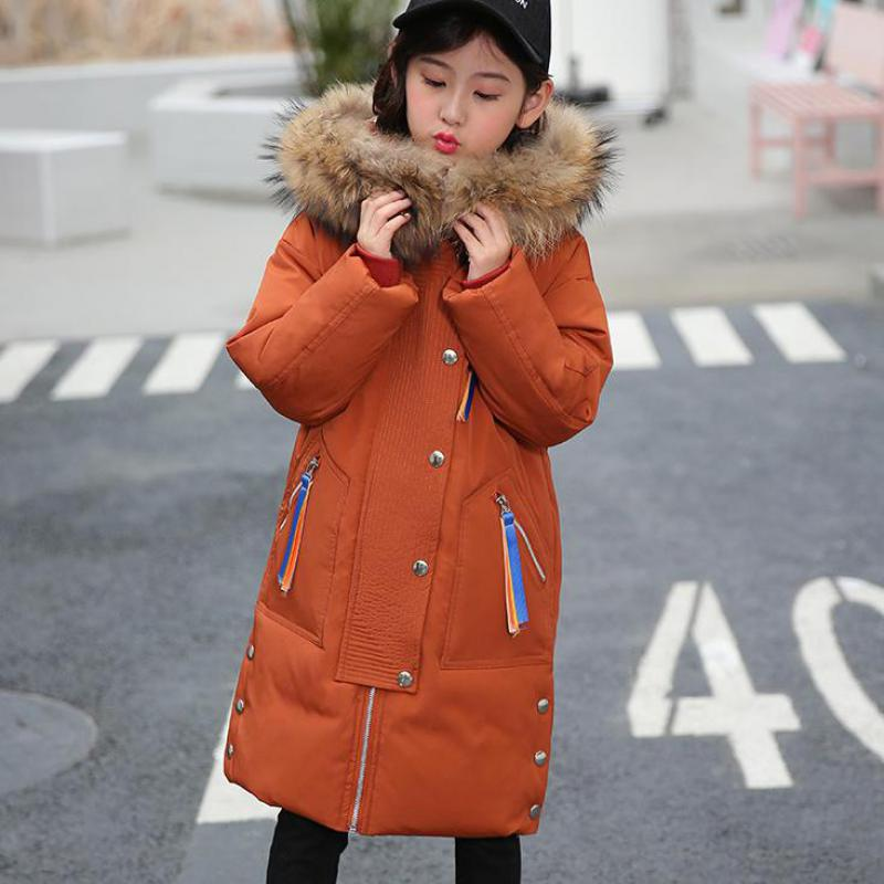 Russian Winter Girls Long Thickened Warm Down Outerwear & Coats -30 Kids Big Fur Collar Hooded Down Jackets Girl Down Snow Coat new kids winter down jacket girls thickened warm down jackets coat boys long fur outerwear parkas for girl hooded children coats
