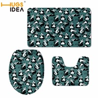HUGSIDEA 3D Cute Panda Print Toilet Seat Covers Mat Warmer Soft Bathroom Carpet Toilet WC Accessories 3 PCS Set Home Decor