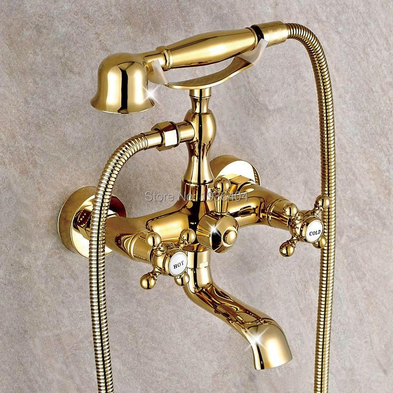 Luxury Gold ทองเหลืองก๊อกน้ำห้องน้ำก๊อกน้ำ Tap ติดผนัง Hand Held Shower Head ชุดฝักบัวก๊อกน้ำชุด SF1033-ใน ก๊อกน้ำอาบน้ำ จาก การปรับปรุงบ้าน บน AliExpress - 11.11_สิบเอ็ด สิบเอ็ดวันคนโสด 1