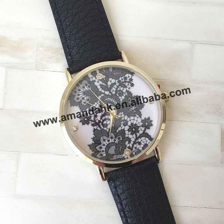 100 יח'\חבילה נשים אופנה חדשות להתלבש שורש כף יד שעונים קישוט שחור הדפס פרחוני תחרה שעונים באיכות גבוהה שעון אישית