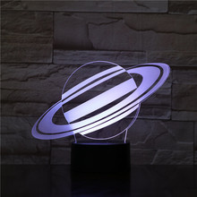 Planet Night Light LED 3D Illusion Touch Sensor 7 Color Changing Childrens Kids Baby Gifts Decorative Table Lamp Gadget