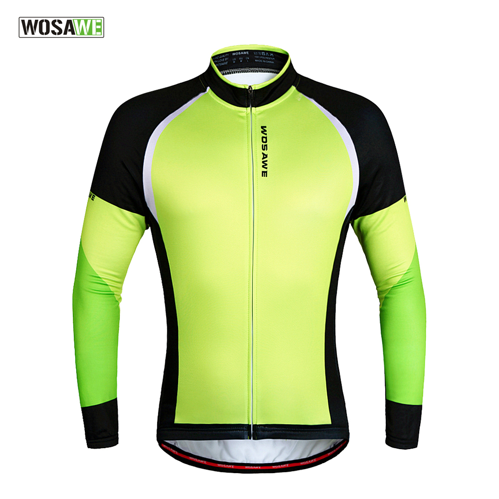 WOSAWE Men s Fleece Thermal Winter Cycling Jackets Windproof Bike Bicycle  Long Sleeve Jersey Shirts Ciclismo Cycling Clothing 31c661a03