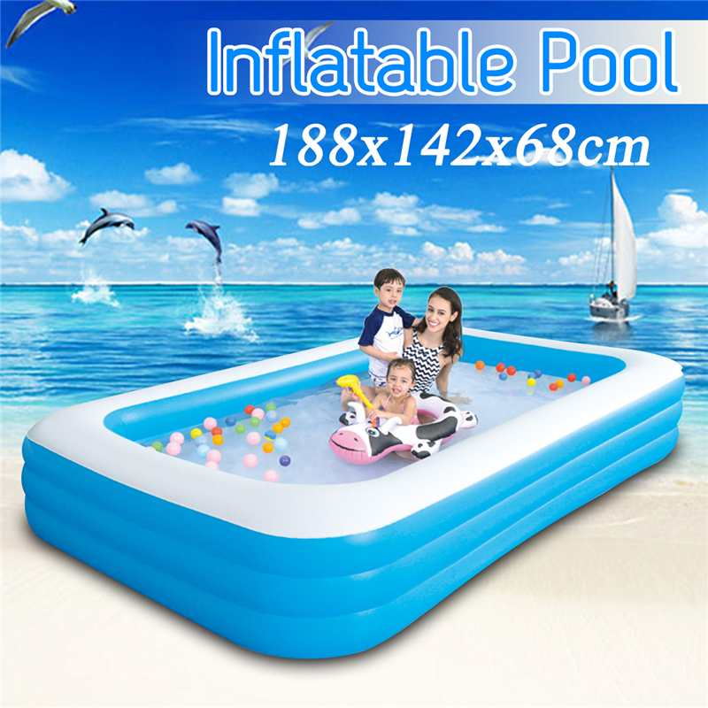 188x142x68cm Children's Home Use Paddling Pool Large Size Inflatable Square Swimming Pool Heat Preservation Kids Inflatable Pool