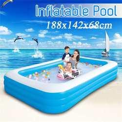 Piscina infantil de tamaño grande de 188x142x68cm, uso doméstico, piscina inflable cuadrada, piscina con preservación de calor para niños