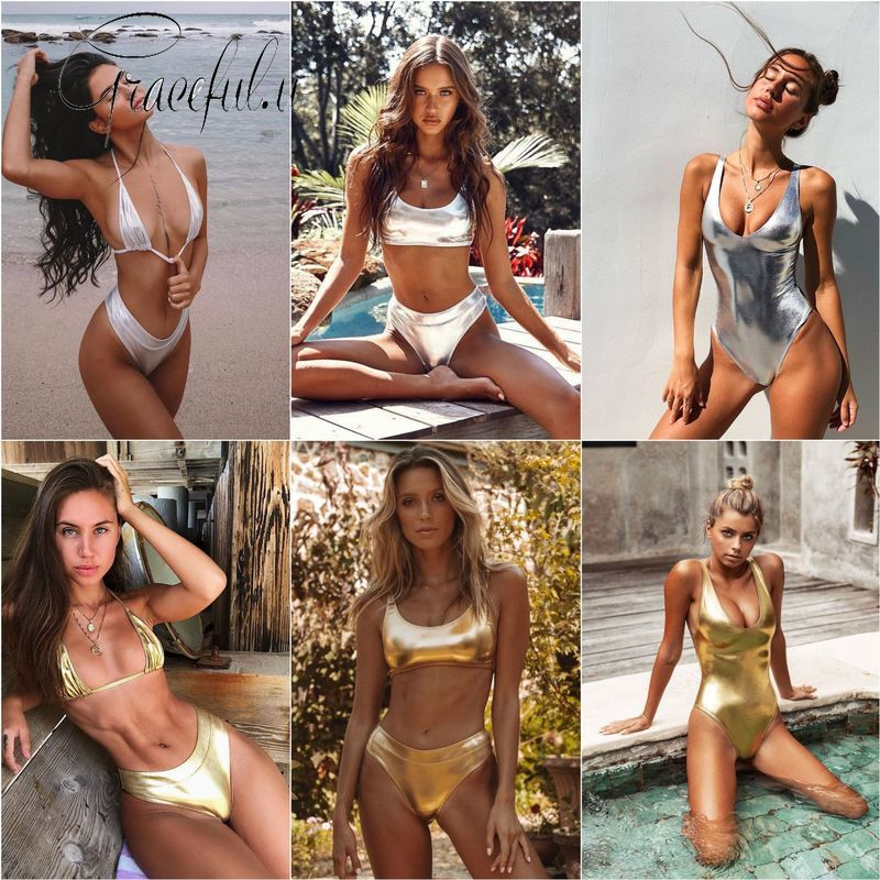 <font><b>2019</b></font> <font><b>Swimwear</b></font> <font><b>Women</b></font> Golden Bright Skin <font><b>Sexy</b></font> <font><b>High</b></font> <font><b>Waist</b></font> <font><b>Bikini</b></font> <font><b>Push</b></font> Up Padded Swimsuit Bathing Suit Beachwear Monokini Female image