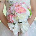 Elegant Customized Bridal Wedding Bouquet 18 Pieces Silk Roses Romantic Wedding Pink Bride Bouquet buque casamento WF051PK