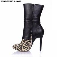 New Outono Inverno da Cópia do Leopardo das Mulheres de Alta Calcanhar Meados de Bezerro Botas Sexy Preto Sapatos De Salto Alto Fino Mulheres Bombas Senhoras sapatos