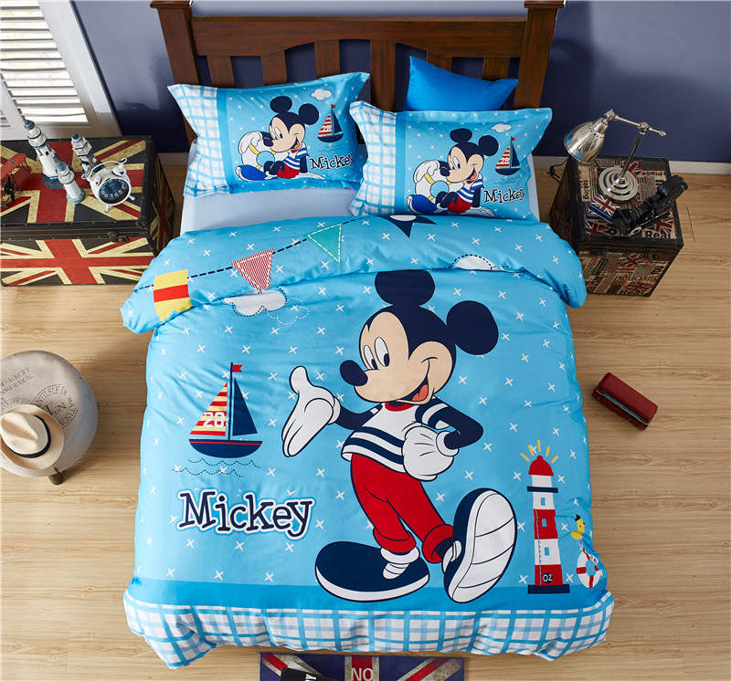 Disney mickey mouse ensemble de couette simple double pleine reine taille housse de couette bleu ponçage linge de lit cool enfants garçons maison textile