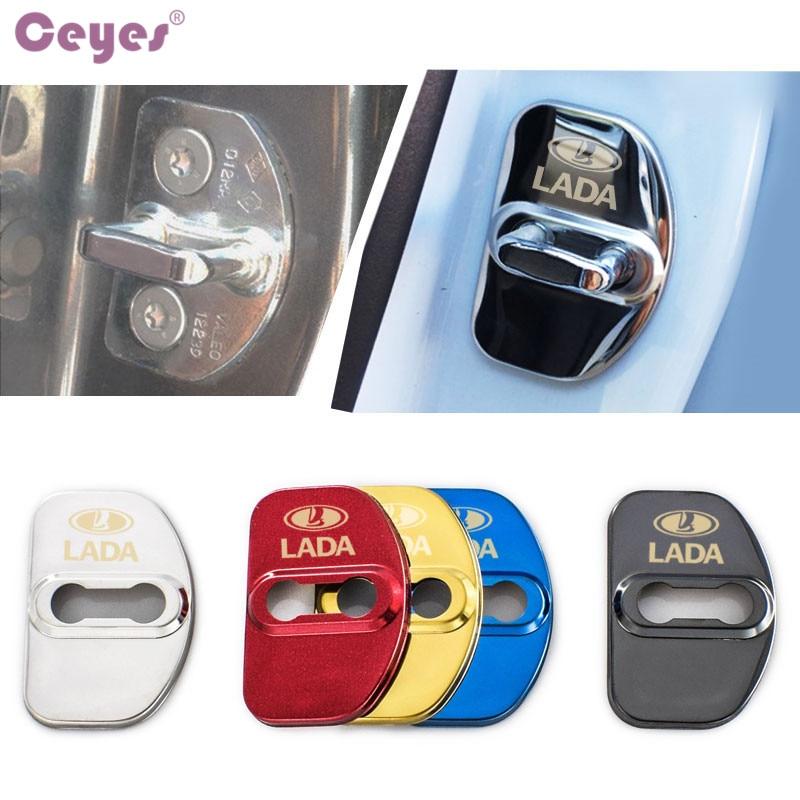 Ceyes housse de protection pour serrure de porte Auto style voiture pour Lada Xray Vesta SW accessoires de boucle de protection de voiture 4 pcs/lotCeyes housse de protection pour serrure de porte Auto style voiture pour Lada Xray Vesta SW accessoires de boucle de protection de voiture 4 pcs/lot