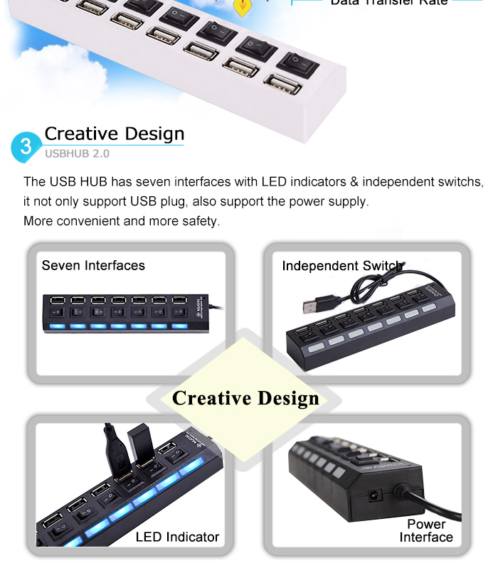Micro USB Hub 2.0 Multi USB Port 4/7 Ports Hub USB High Speed Hab With on/off Switch USB Splitter For PC Computer Accessories 5