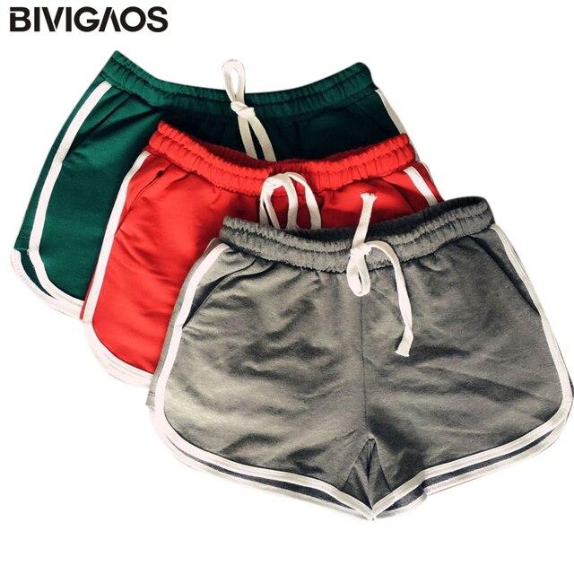 e2e6b9ec3 BIVIGAOS Algodão Verão Mulheres Shorts Com Cordão de Fitness Curto Cintura  Elástica Bolso treino Casa Curto