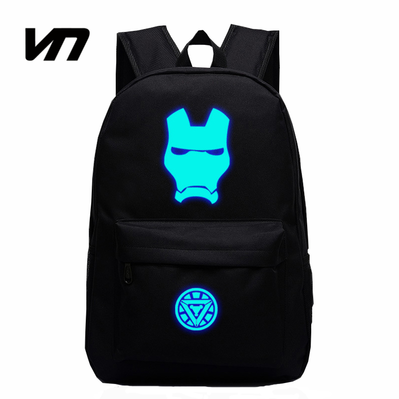 New Fashion Super Hero Iron Man Backpack Luminous Unisex Schoolbags For Teenager Book Bag Students New Backpack For Kid Gift