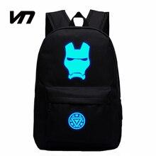 Nueva moda super hero iron man luminoso unisex mochilas para adolescente libro mochila bolsa de estudiantes mochila nueva para regalo del cabrito