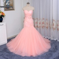 Cheap Price US4 Size Only ONE PIECE Ruched Tulle Pink Mermaid Wedding Dress Lace Up Marry Dresses Bridal Dresses