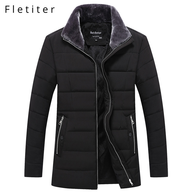 Fletiter High Quality Warm Mens Warm Winter Jacket Windproof with fur trim Casual Outerwear Thick Medium Long Coat Men   Parka