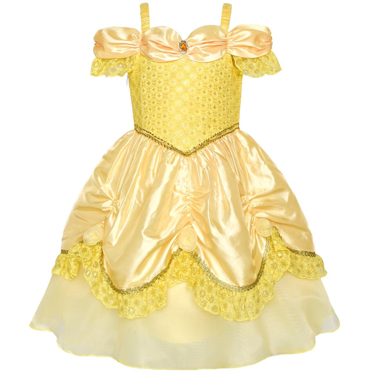 Girls Dress Yellow Princess Belle Costume Birthday Party ...