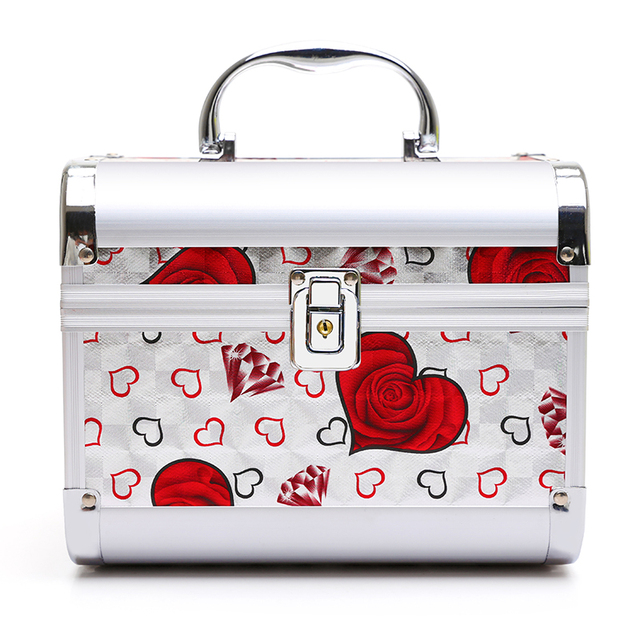 Luxury aluminum alloy Women Cosmetic Bags Toiletry Bag With Lock Travel Makeup Bag With Mirror Cosmetic Organizer Make Up Case