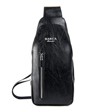 Men s PU Leather Chest Bags 2018 New Casual Solid Crossbody Bags for Men Waterproof Sling