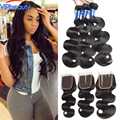7A Peruvian Virgin Hair body wave With Closure Unprocessed Peruvian body Wave 3 Bundles With Lace Closure Rosa Hair Products