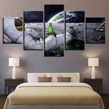 Canvas Wall Art Pictures Home Decor 5 Pieces Astronaut Paintings Living Room Prints Abstract Lunar Landscape Poster(China)