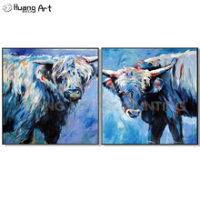 Top Artist Pure Hand-painted High Quality Modern Art Bull Wall Painting on Canvas for Living Room Decor Cow Animal Picture