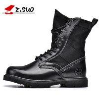 Z. Suo Marke Echtes Leder Männer Desert Boots Schwarz Militärstiefel Taktische stiefel Armeestiefel Männer botas Männer Schuhe Große Größe 45 46