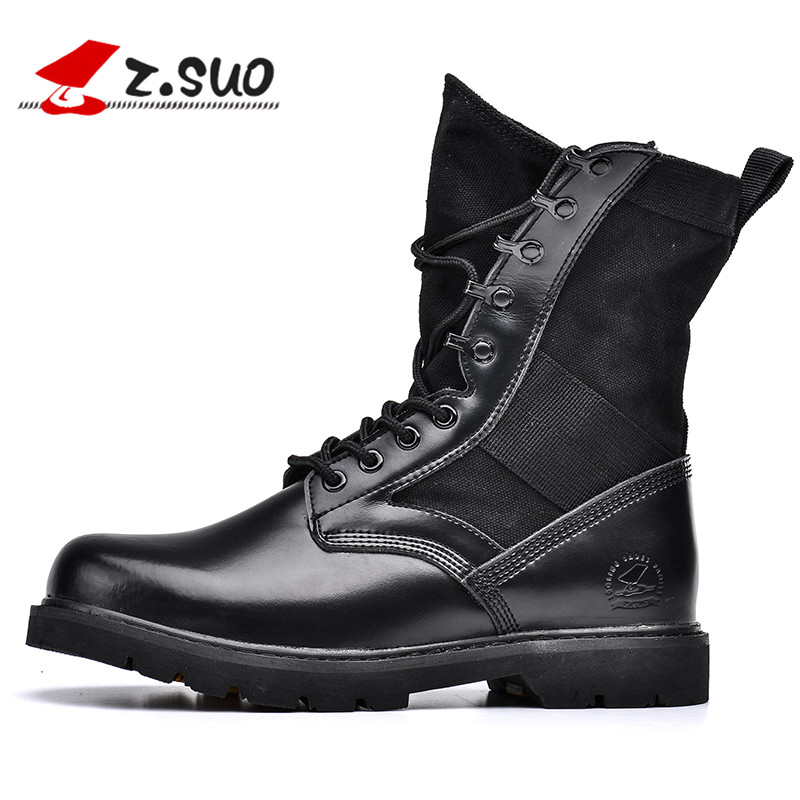 ZSuo Brand Genuine Leather Men Desert Boots Black Military Boots Tactical Boots Army Boots Men botas Men Shoes Big Size 45 46