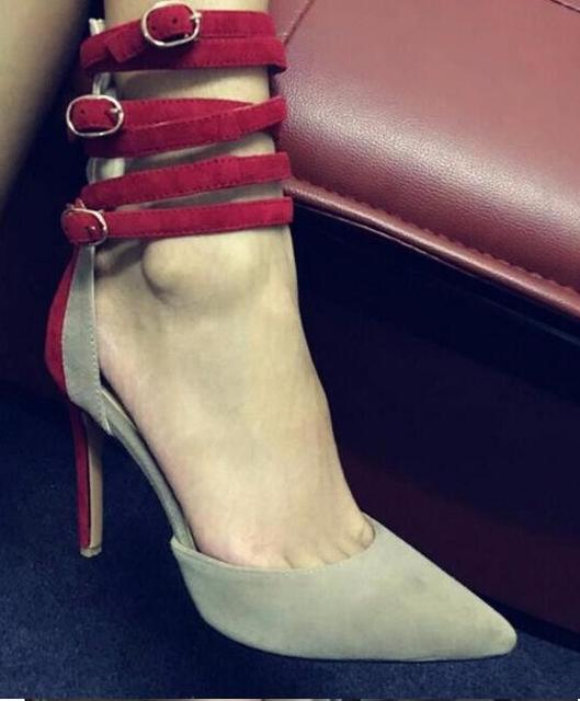 woman high heel shoes high quality suede mixed colors ankle strap thin heel shoes pointed toe stiletto heels office lady heels