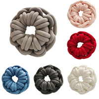 Handmade Woven Knot Ball Soft Plush Knitted Home Pillows Solid Donuts Design Throw Pillow with Pillow Core Office Car Seat
