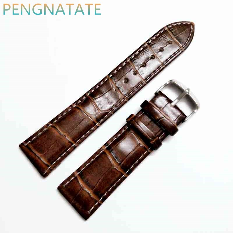 22mm Brown Genuine Leather Strap Polished Stainless Steel Clasp Buckle Watch waterproof Needle buckle Band PENGNATATE genuine leather strap polished stainless steel butterfly clasp deployant buckle watch band 16 24mm