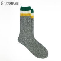Thick Men Socks Fall Winter Outdoor Striped Warm Brand Compression Reinforced Heel Toes Hosiery Plus Size