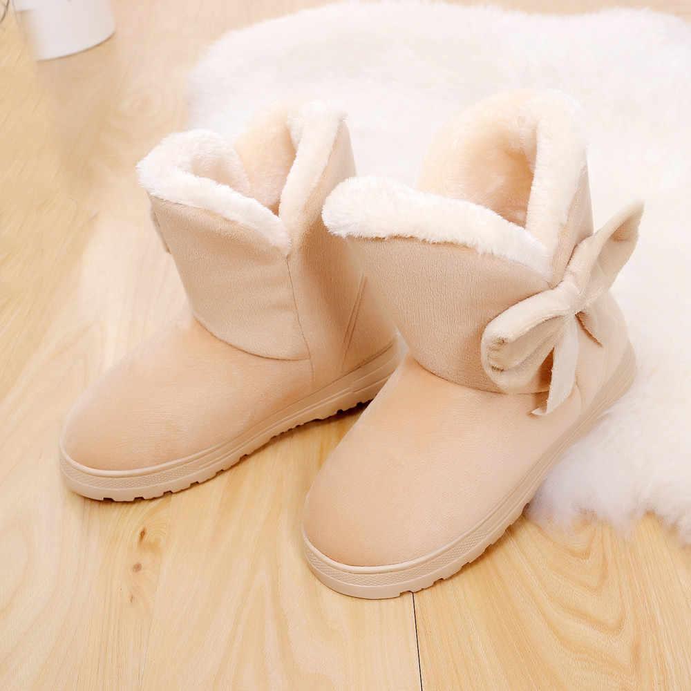 Ayakkabı Botları Kadın Ilmek Sıcak Flats Ayakkabı Kar Botları Sonbahar Kış Moda Slip-On Eğlence botları kadın 2018NOV5