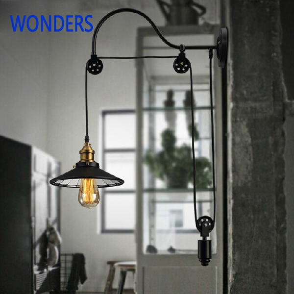 Loft Style iron Reminisced retro rural industry pulley lift pendant light American restaurant bar mirror inside pendant lamp high quality branch shape iron reminisced pendant lamp loft northern europe american vintage retro country pendant light