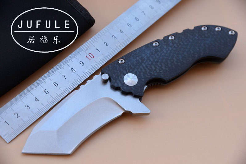 JUFULE OEM Direware ball Bearing Carbon fiber titanium D2 blade folding camp hunt outdoor survival pocket EDC tool kitchen knife