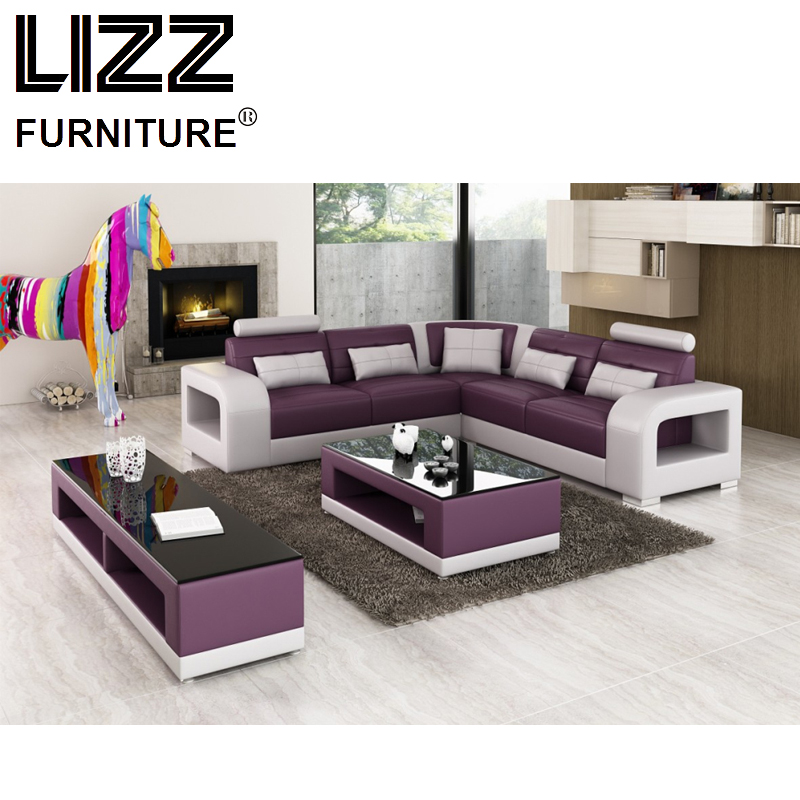 Sales Sofa Sets  Luxury Furniture Set Genuine Leather Sofas For Living Room Modern L Shape Sofa With Coffee Table LZ8001-B-1 price couch living room furniture used luxury sofa sets meubles pour la maison leather sofas