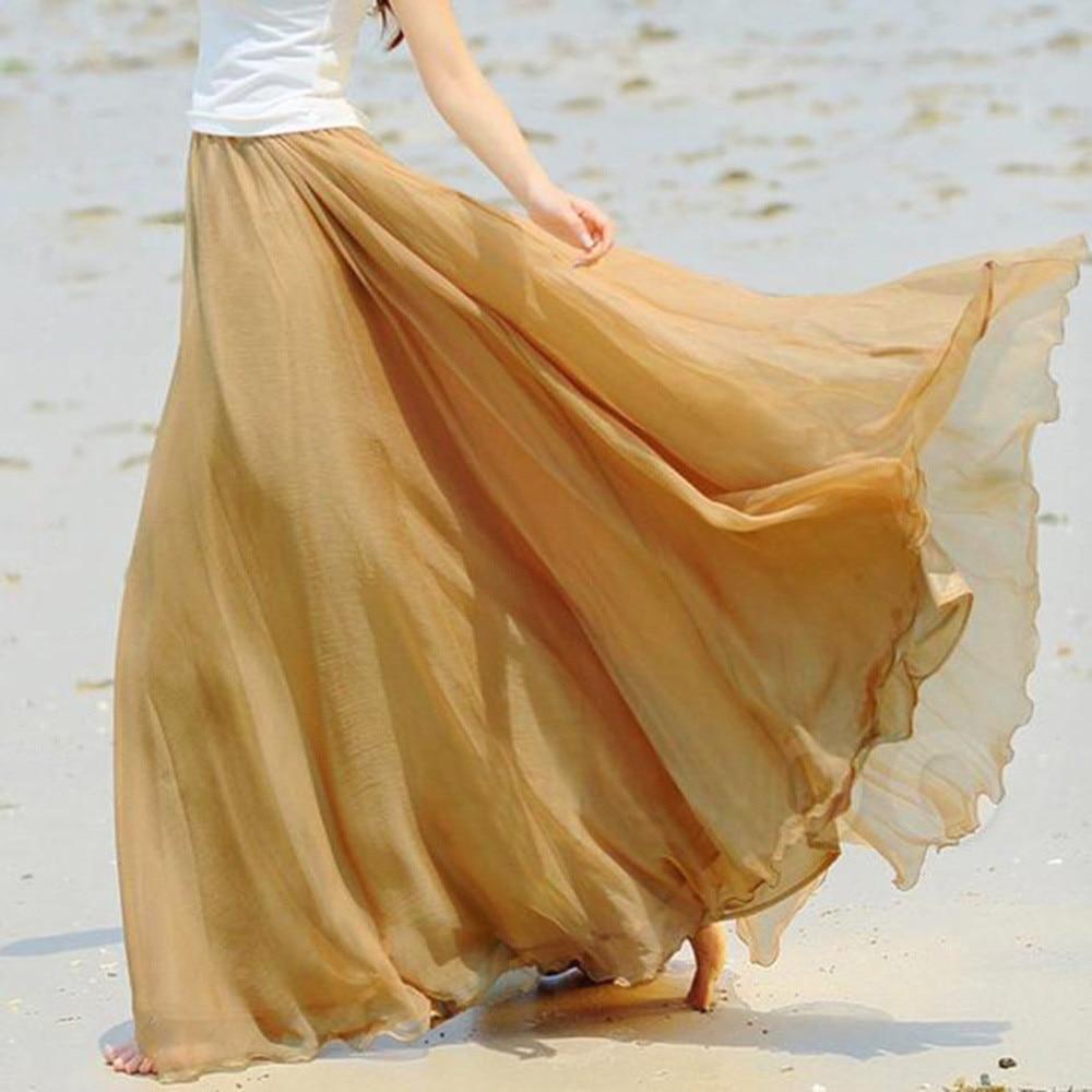 Long Skirt Tulle Skirt Skirts Womens Jupe Femme Faldas Mujer Moda 2019 Jupe Women Elastic Waist Chiffon Long Maxi Beach New Z4