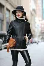 2017 Luxury Double-faced Leather Overcoats Womens Gunuine Leather Long Coats Ladies Winter Black Parka AU00885