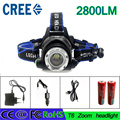 z15 Headlight T6 led headlamp zoom flashlight  adjustable head lamp 2800lm XM-L T6 18650 battery front light Recharge zoomable