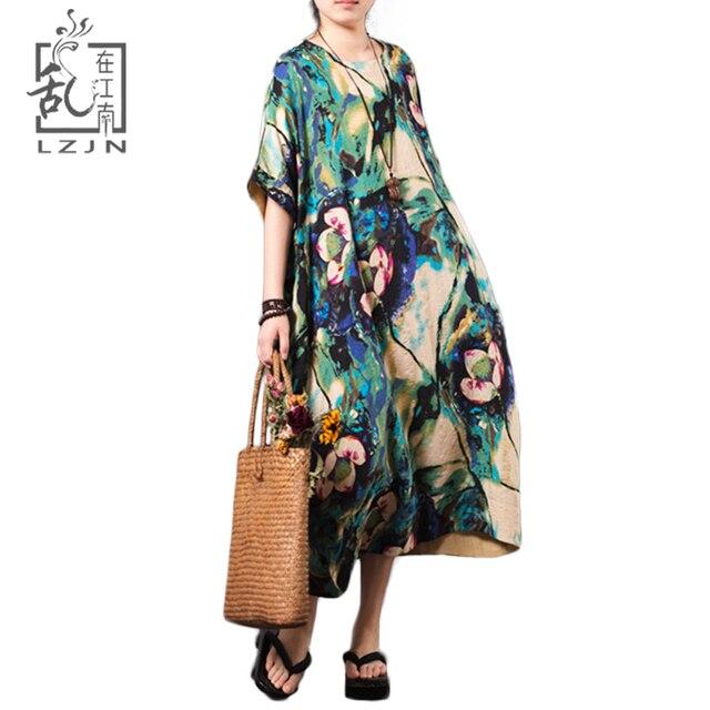 LZJN Vintage Floral Midi Dress Plus Size 2018 Summer Womens Beach Dresses  Short Sleeve Casual Robe e555675683ff