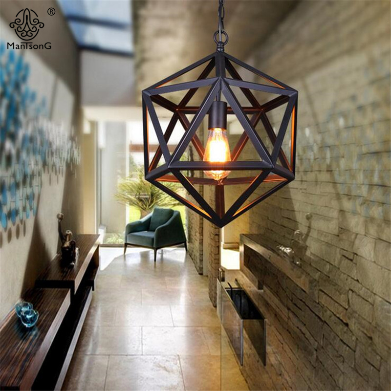 Cage Lampshade Pendant Lights Vintage Retro Industrial Lamps Iron Art Black Loft E27 AC Hexahedron For Home Decoration Lighting black iron bird cage big size lampshade pendant light e27 ac110v 220v industrial edison pendant lamp retro loft lighting