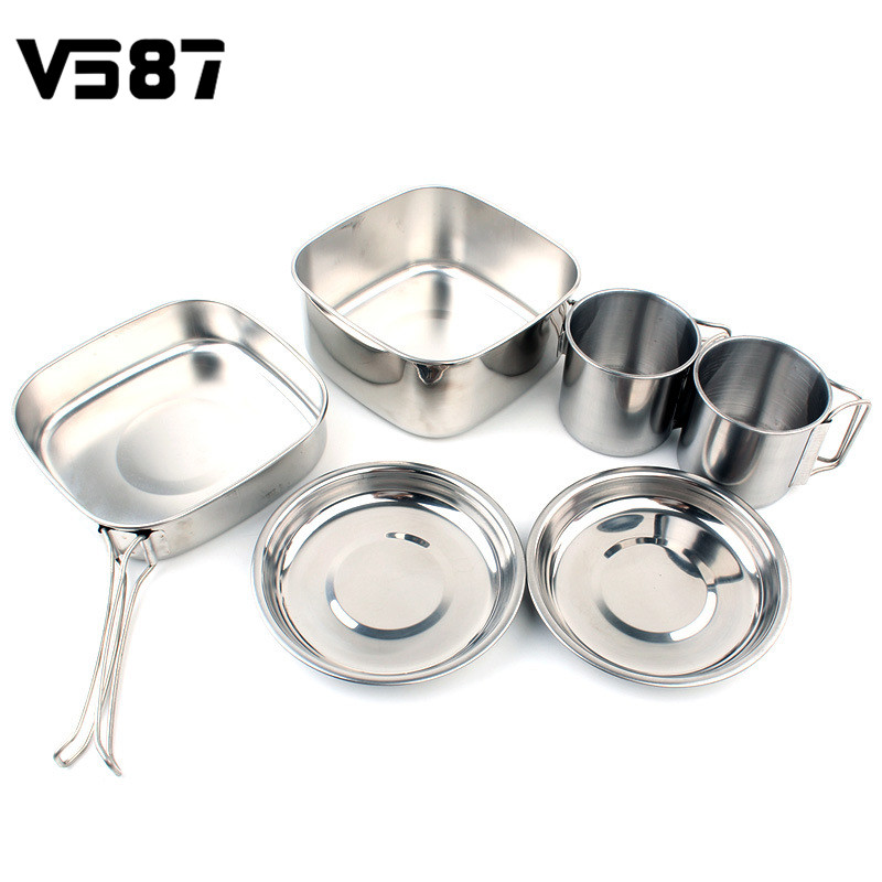 Aspiring Stainless Steel 6pcs/set Cookware Set Home Frying Pan Plate Cup Kitchen Cooking Tools Kit Outdoor Picnic Camping Accessories Consumers First Cookware & Parts