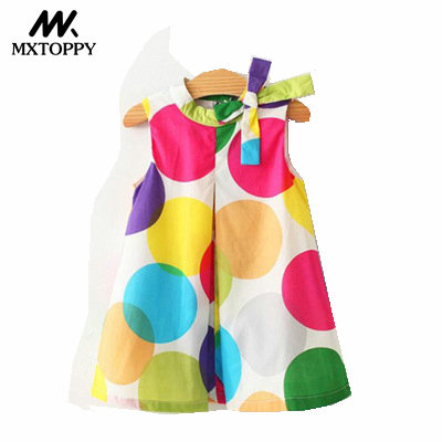 MXTOPPY Girls Dresses 2018 New Summer Lovely Kids Wave Bow Dot Colorful Dress For Girls Fashion Children Clothing