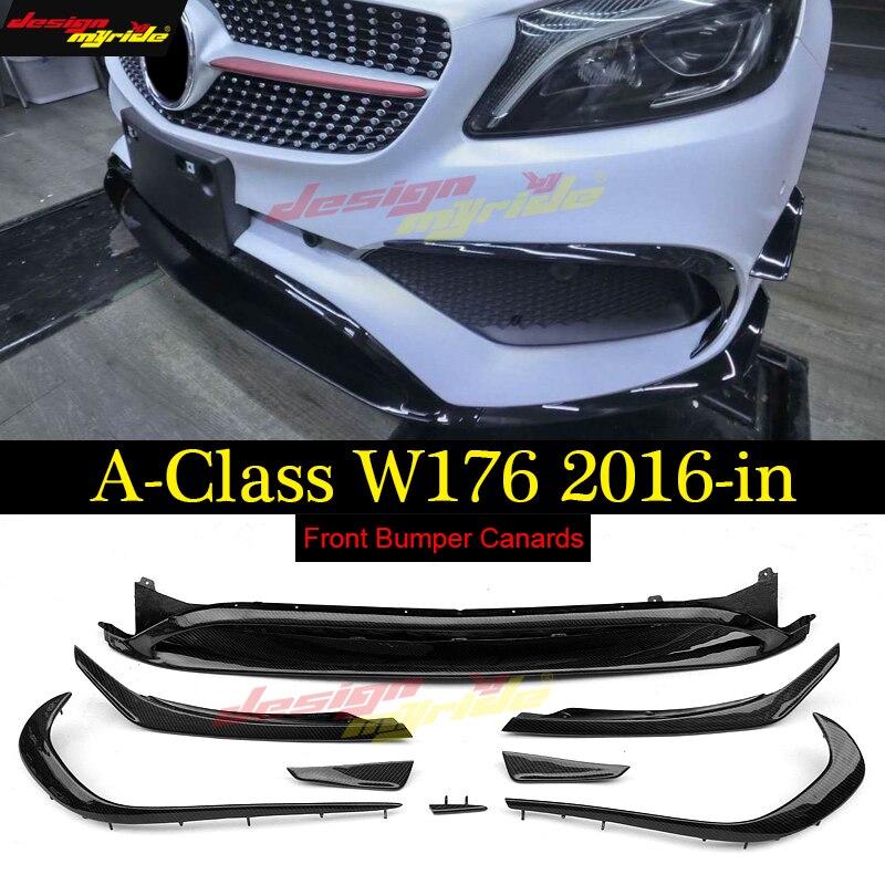 W176 lèvre Antérieure Pare-chocs avant 8 pièces ABS Canards/Set Pour Mercedes Benz A180 A200 A250 A45Amg pare-chocs avant Séparateur 2016-18