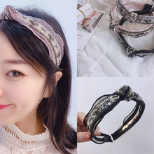 Korea Lace Chiffon Weaving Pearl Bead Knot Bow Hairbands Diamond Hair Accessories Hair Bows Flower Crown Headbands For Women 4 korea pearl shining bow hairbands hair accessories crystal hair bows flower crown headbands for women 4