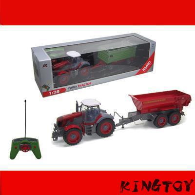 Big Rc Tractor Truck 1:28 Electric Trailer Tractor Rc Truck With Dumper Up And Down Big Engineering Toy Car For Kids remote control 1 32 detachable rc trailer truck toy with light and sounds car
