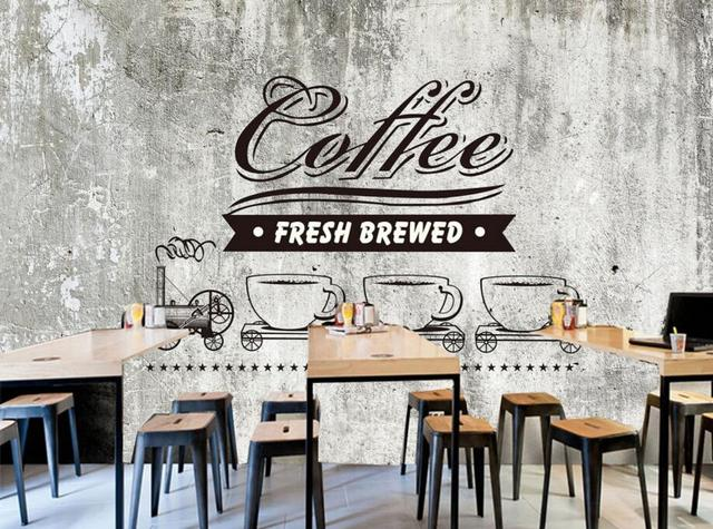 Custom food shop wallpaper old cement wall coffee 3d retro for Mural coffee shop