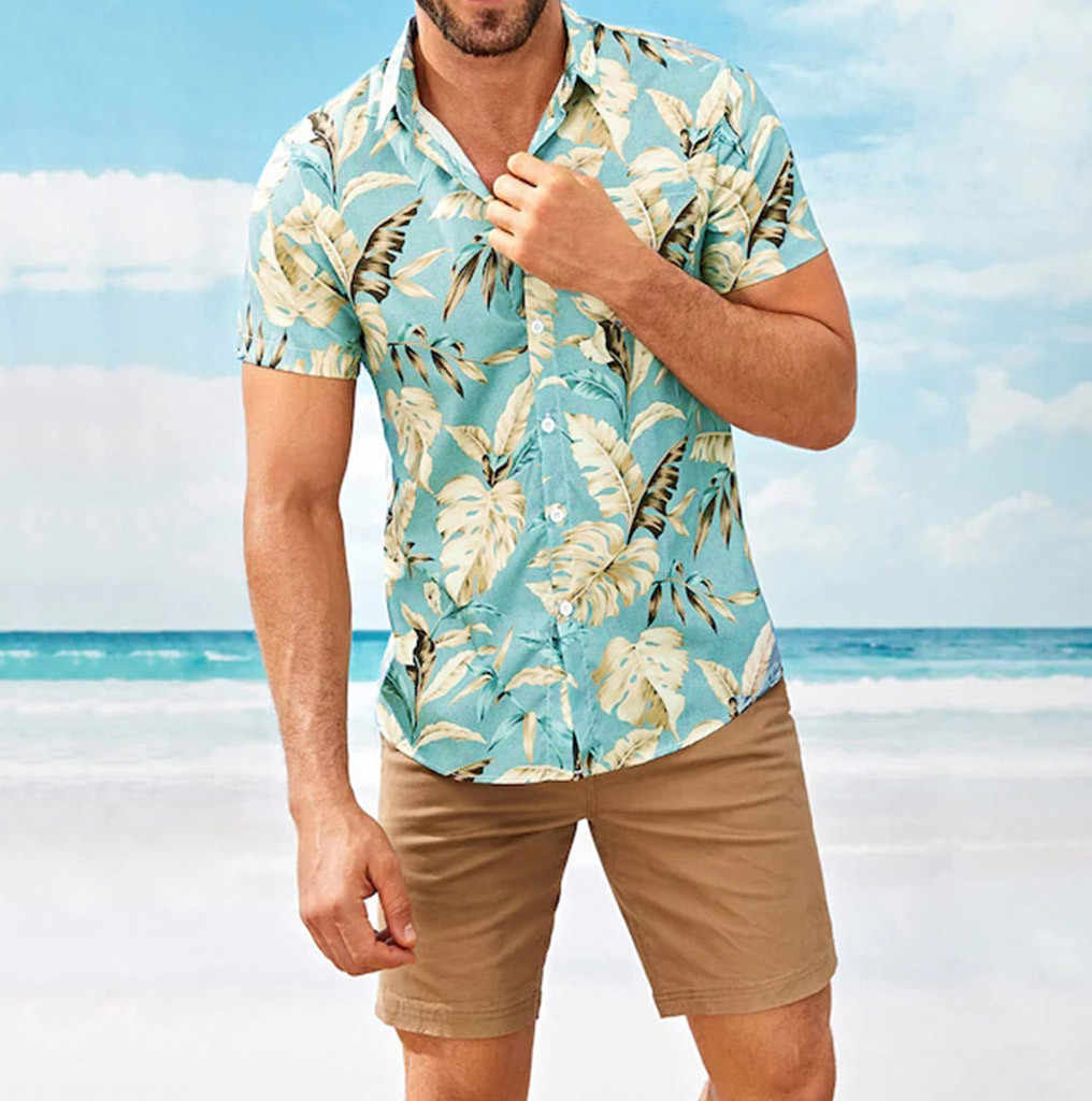 Ethnic Hawaiian Shirts,Mens Stand Collar Colorful Stripe Printed Beach Party Holiday Camp Casual Short Sleeve Top